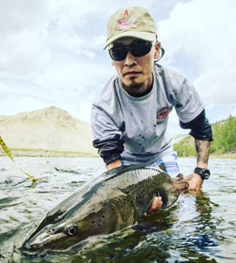 Jangar (Jedi Jack) began as a translator at Fish Mongolia in 2004. He got his first rod (a TFO) from his boss. And turned into a fly-fishing monster. He started guiding for Fish Mongolia in 2006, remains obsessed with taimen, and still uses that TFO.  Jack is a well-respected legend among both the locals and the international staff. He has also fished many of Montana's finest rivers, including the Bitterroot, Smith, Yellowstone, and Missouri, and loves steelhead and rainbows.